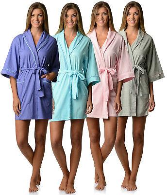 Casual Nights Womens Jersey Cotton Knit Bridesmaid Lounge Kimono Short Bath Robe Cotton Short Robe