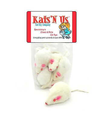 Real Rabbit Fur White Mouse Cat Toy - 5 Pak - WITH RATTLE SOUND Fur Mouse Toy