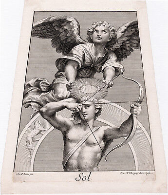Stunning 1695 Raphael Antique Zodiac Engraving  Sol Holding A Bow With Leo  Coa