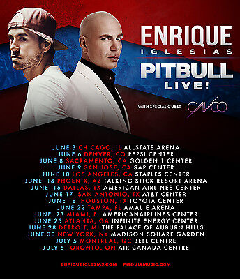 "ENRIQUE IGLESIAS / PITBULL ""LIVE!"" 2017 NORTH AMERICAN CONCERT TOUR POSTER - Pop"