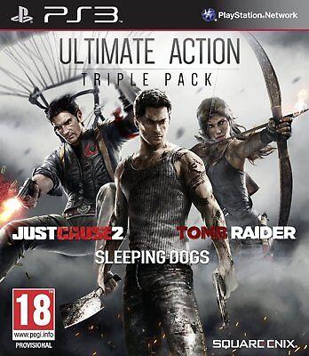 Usado, Ultimate Action Triple Pack PS3 Just Cause 2 Sleeping Dogs Tomb Raider Brand NEW comprar usado  Enviando para Brazil