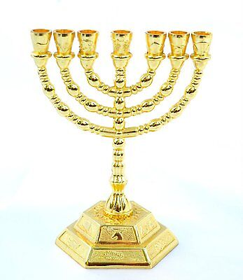 "8"" inches Tall 12 Tribes of Israel Emblems Jewish 7 Branch Gold Temple Menorah"