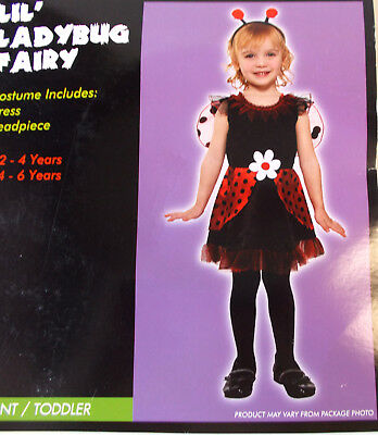 Lil' Ladybug  Lady Bug Fairy Child Toddler Costume 2-4T 4-6 NIP - Toddler Bug Costumes