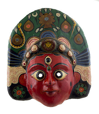 Large Mask Hat and Mitten Set Brahma Indra Jatra Festival Paper Mache Tibet 49