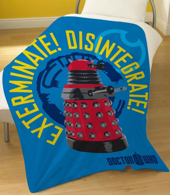 FLEECE BLANKET DR WHO DRONE SINGLE THROW RED DALEK EXTERMINATE THE DOCTOR BLUE