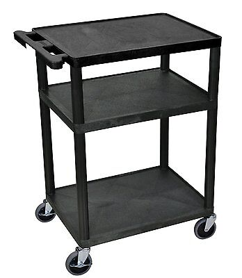 Luxor 3 Shelf AV Presentation Cart, Black - LP34-B New