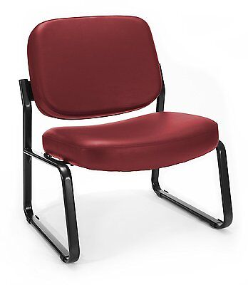 6 Big And Tall Chair - Lot Of 6 OFM Big and Tall Vinyl Armless Guest / Reception Chair, Wine