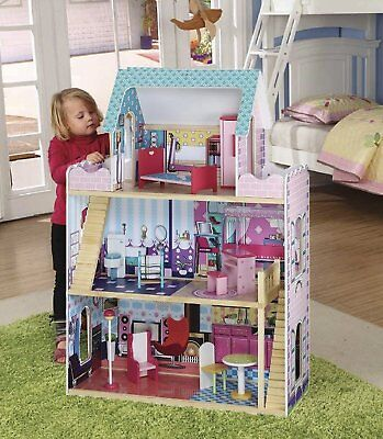 Large Wooden 3 Storey Mansion Dolls House With Furniture Accessories Play Set
