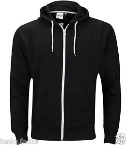 New Mens Boys American Plain Fleece Hoodie Zip Up Sweatshirt Jacket size UK S-XL