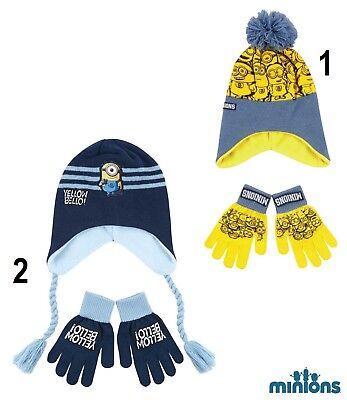 Disney Minions 2 tlg Wintermütze Hut Mütze Kopfbedeckung Handschuhe NEU ()