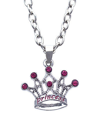 PRINCESS Word Crown Tiara Pendant Necklace Valentine's Day gift for Girl n2073p - Gifts For Princesses