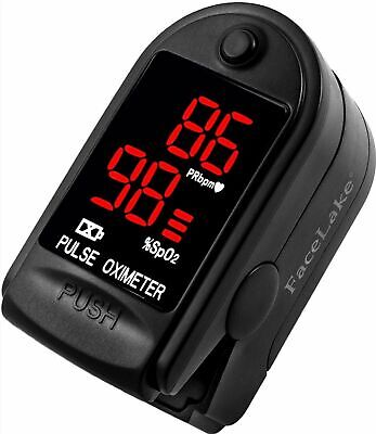 Facelake Fl400 Pulse Oximeter With Carrying Case Batteries Black Sealed