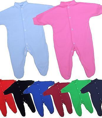 BabyPrem Baby Boys Girls Clothes Plain Coloured Sleepsuit Babygrow NB - 9 months