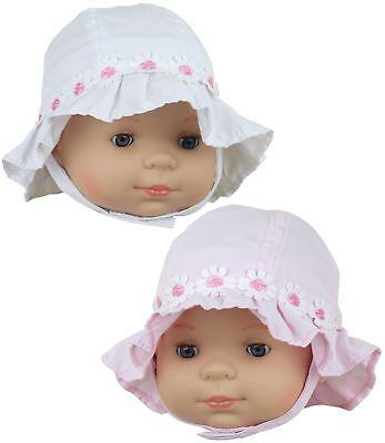 BabyPrem Baby Mädchen Kleidung 0-3 3-6 Daisy Chain Rüschen Cloche Hüte weiß Rosa ()