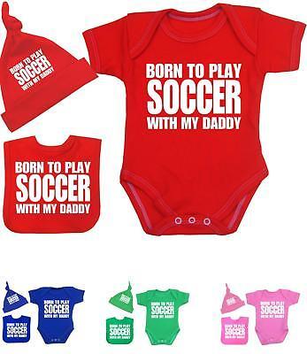 Babyprem Babykleidung 3 Teile Satz Body Weste Lätzchen - Baby Fußball Hut