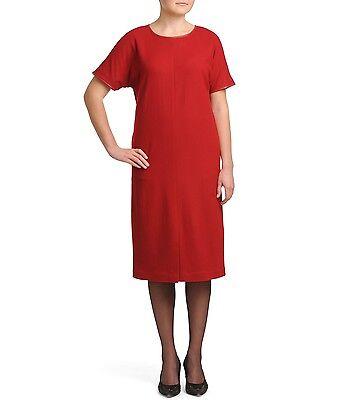 UNQ Midi Kleid Rot Business Wolle Viskose 110 cm Kurzarm Rundhals Etuikleider
