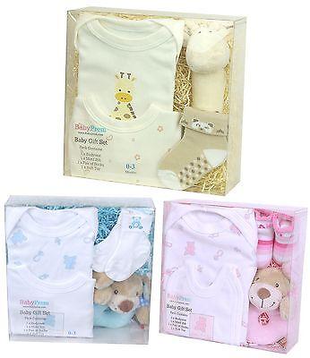 Babyprem Neugeborenes Baby-Dusche Geschenk Set - 4 Teile Box für Jungen &