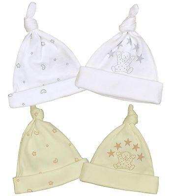 Babyprem Bébé Prématuré Chapeaux Paquet de 2 X Filles Garçons Unisexe Coton Noué