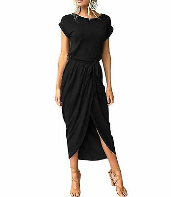 Mansy Womens Casual Cuffed Short Sleeves Belted Long T Shirt Warp Maxi -