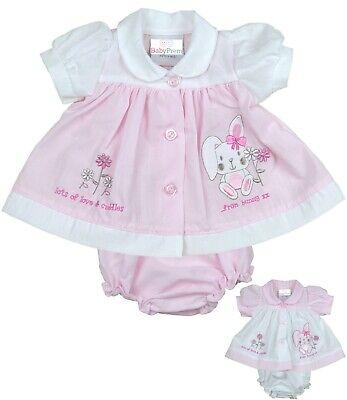 BabyPrem PREEMIE MICRO Baby Clothes Girls Dresses Pink Bunny Dress 3 - 8lb Micro Preemie Clothes