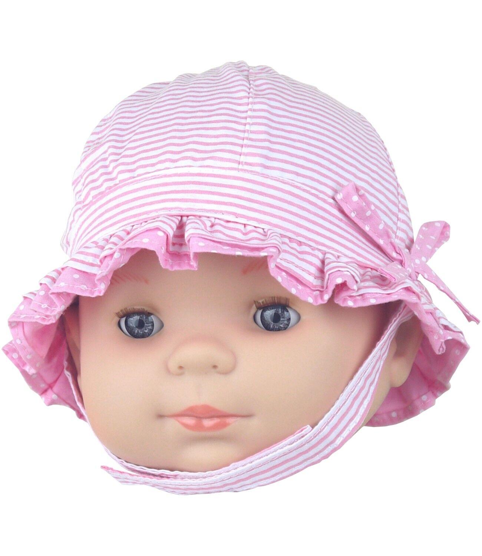 Babyprem Baby Mädchen Sonnenhut Pink Sommer Hut mit Kinnriemen Alter 0-3 & 3-6