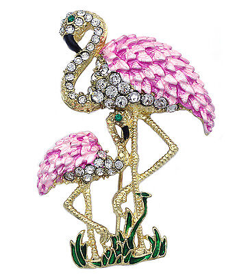 Pink Mom And Baby Two Flamingo Bird Brooch Pin Women Ladies Fashion Jewelry P19