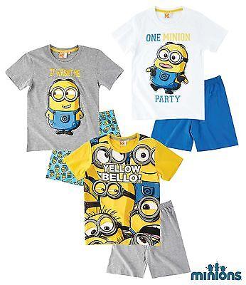 Minions Kinder Shorty Pyjama Gr. 116-152 - Schlafanzug kurz - Nachtwäsche *NEU (Kinder Minion Anzug)