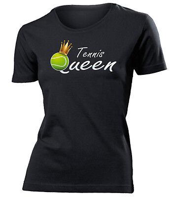 Tennis Queen T-Shirt Damen S-XXL Sport Fun Shirt Schläger Ball - Golebros