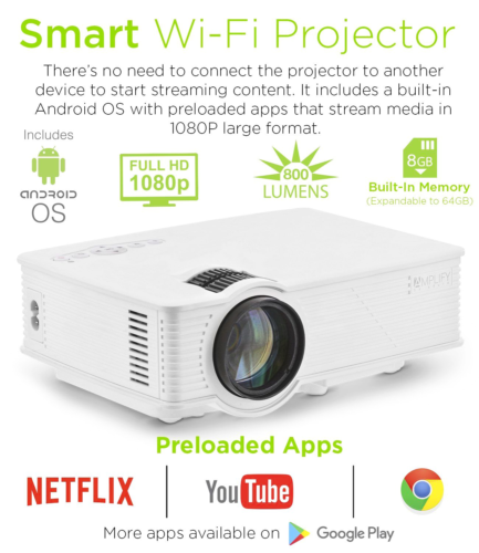 Smart LED WiFi Video Projector, Built-in Android OS Apps, Wireless Full SU