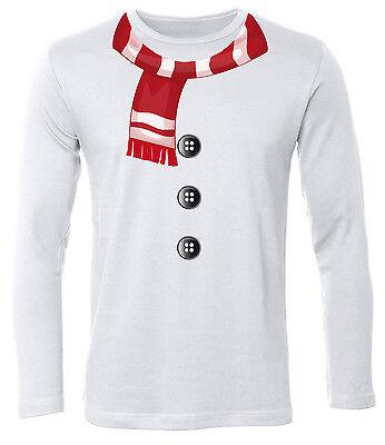 SCHNEEMANN KOSTÜM T-Shirt Herren Langarmshirt (Herren Schneemann-kostüm)