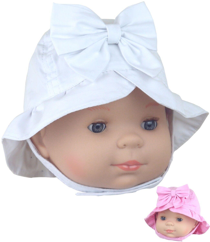 Babyprem Baby Mädchen Sonnenhut Weiß Rosa Cloche Stil Sommer Mützen Alter 3 6 12