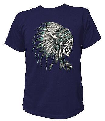 T-Shirt Classic SKULL INDIAN HEADRESS American Indianer USA - Indian Headress