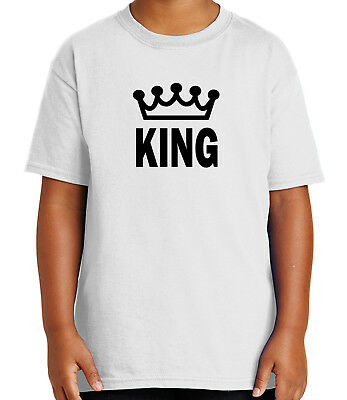 King and Crown Kid's T-shirt His Cool Couple Matching Tee for Youth - - King Crown For Kids