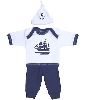 BabyPrem Premature Preemie Baby Clothes Boys Sailing Outfit Trousers Top & Hat