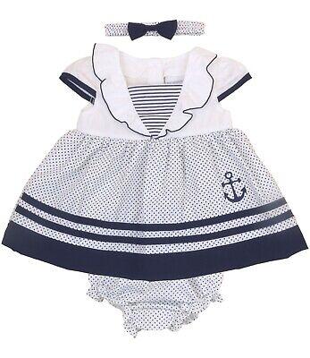 Babyprem Baby Mädchenkleid Marineblau Matrosenkleid Outfit 9-12 12-18 18-24 ()