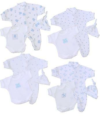 BabyPrem Preemie Micro Baby Boys Clothes 3 Piece Set Sleeper One-Piece Hat 1-7lb