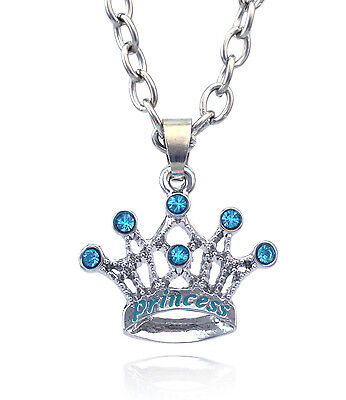 PRINCESS Word Aqua Blue Crown Tiara Pendant Necklace gift for Girl n2074p - Gifts For Princesses
