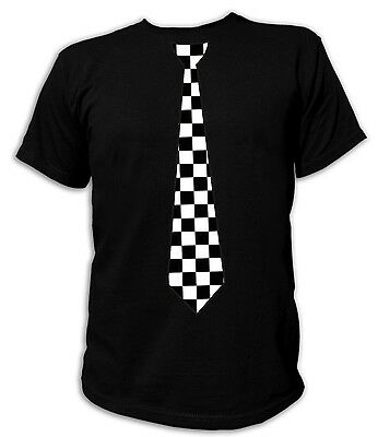 T-shirt Checkered Flag (T-Shirt KRAWATTE TIE Chequered Checkered Racing Flag Flags Zielflagge Rockabilly)