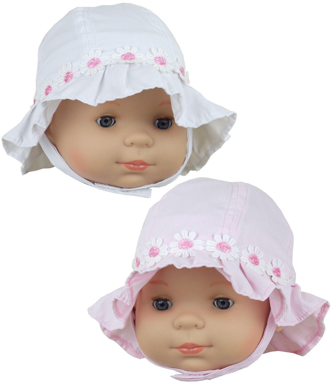 Babyprem Baby Mädchen Sonnenhut Daisy Kette Rosa Weiß Glocke Motorhauben 0-3 &