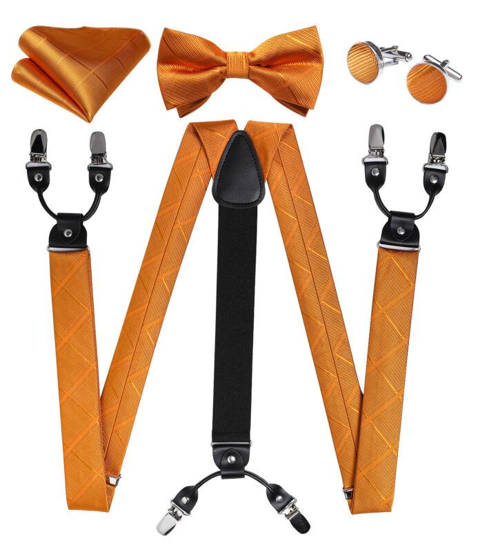 Mens Plaids Checks Suspenders Bow Tie Adjustable Elastic Braces Hanky Cufflinks