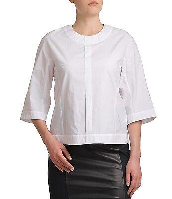 UNQ Weisse Bluse Baumwolle Ohne Kragen 3/4 Arm Business Unifarben Locker Sitzend