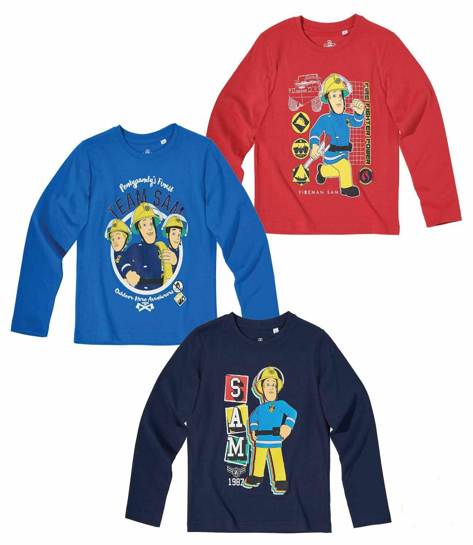 Feuerwehrmann Sam Kinder Jungen Langarmshirt-Gr 104-140 T-Shirt Pullover neu!