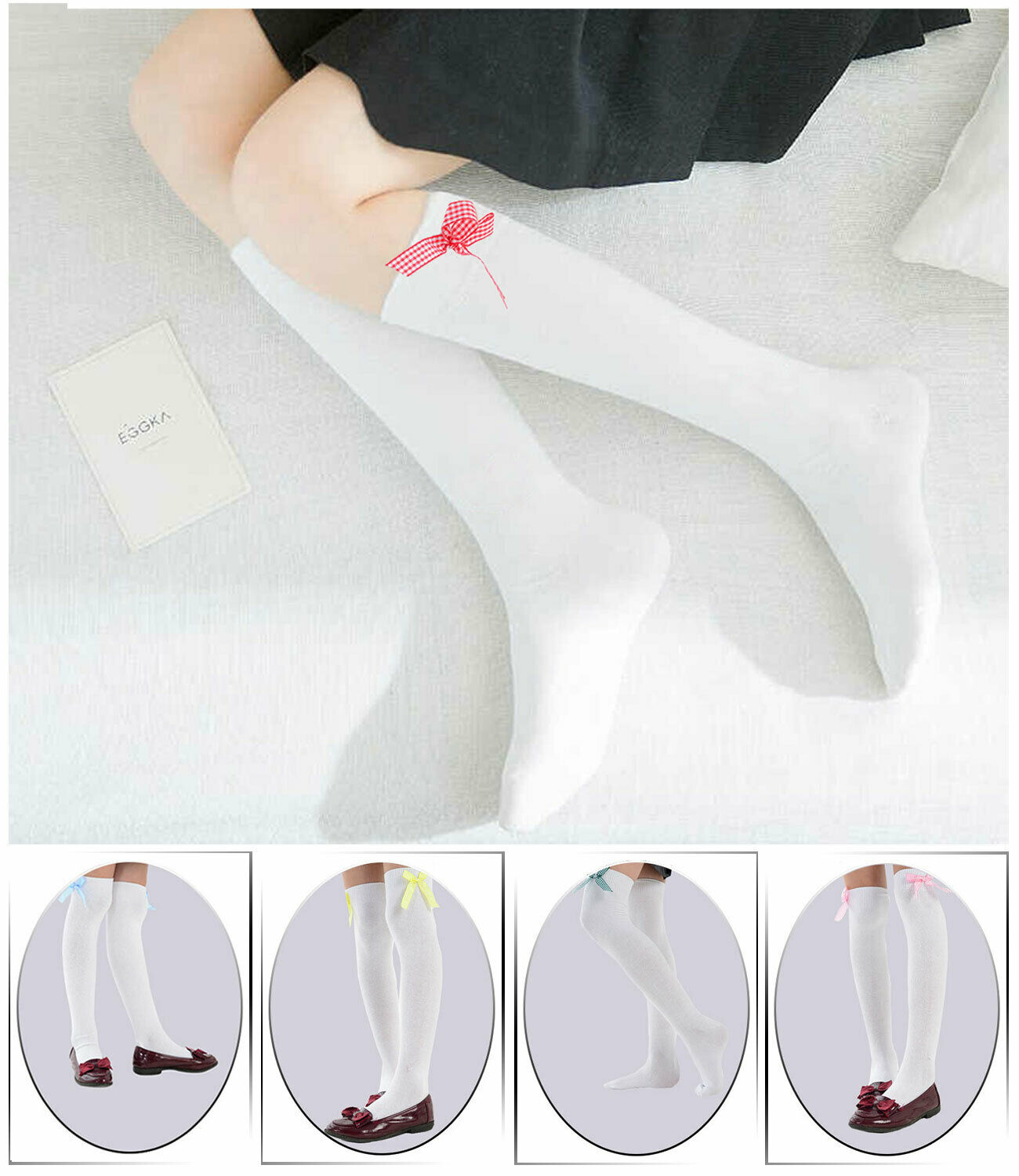 6 Pairs Girls Bow 75/% Cotton Ankle Socks COLOUR WHITE