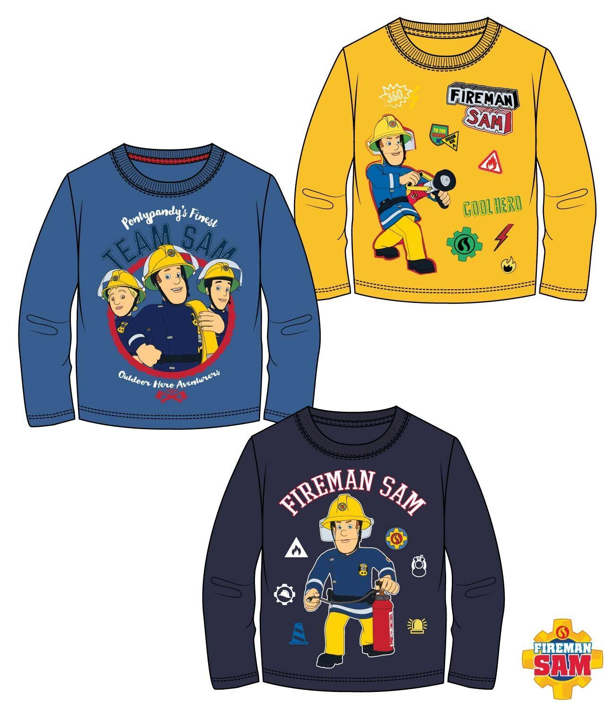 Feuerwehrmann Sam Kinder Jungen Langarmshirt-Gr 98-128 T-Shirt Pullover
