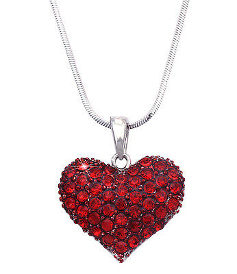 Small Red Heart Pendant Necklace Valentines Day Birthday Jewelry Gift Box