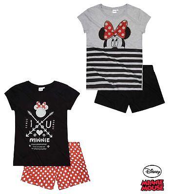 Pyjama Set Schlafanzug Damen Mädchen Minnie Mouse schwarz weiß rot S M L XL #39 ()