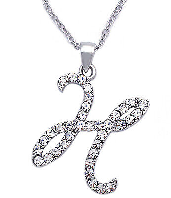 Clear Crystal Cursive Writing Initial Letter H Pendant Necklace Women Jewelry