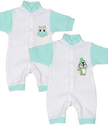 BabyPrem Baby Frühchen Kleidung Strampler Spielanzug 32-44cm Eule Pinguin (Baby Pinguin Anzug)