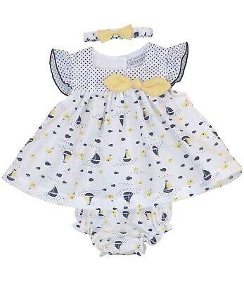 Babyprem Baby Mädchen Matrosenkleid Set 3 Teile Marineblau Segelboot Outfit - Nb ()