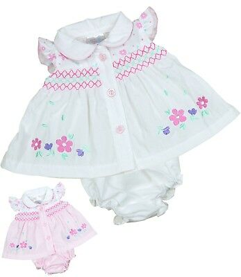 BabyPrem Preemie Baby Clothes Tiny Premmie Dresses White & Pink 000000